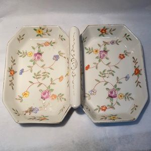 Vintage Hand-painted Double Server Tray ~ Japan